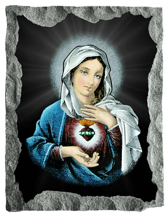 Image of Immaculate Heart of Mary etched and hand painted in color on black granite.