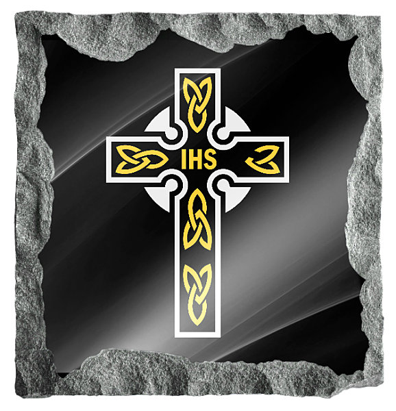 Image of small Celtic cross etched in silver and gold on a black granite background