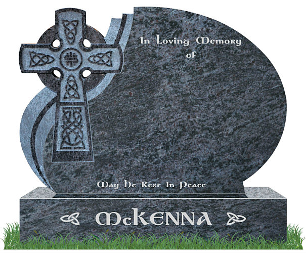 Celtic Wave Headstone in Bahama Blue Granite. Celtic Lacing engraved in granite with a natural background. All inscriptions in silver. Font: Gandalf Bold.