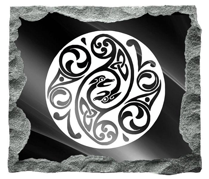 Circular Celtic Art Image etched on a black granite background