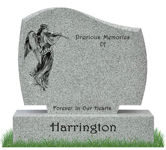 D30 Gravestone in Grey Granite. Image of Guardian Angel playing a violin etched in matte black on the left. All inscriptions engraved in matte black. Font: Harrington Script lettering.
