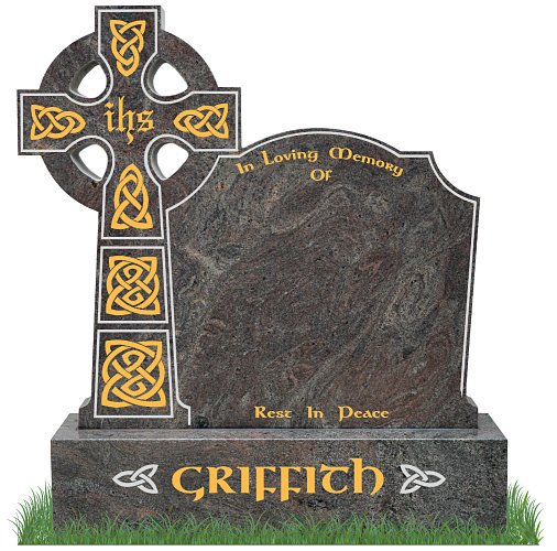 Celtic Top9 Headstone in Paradiso Granite. All inscriptions in gold leaf with Celtic lacing engraved in gold leaf. Font: Gandalf Bold