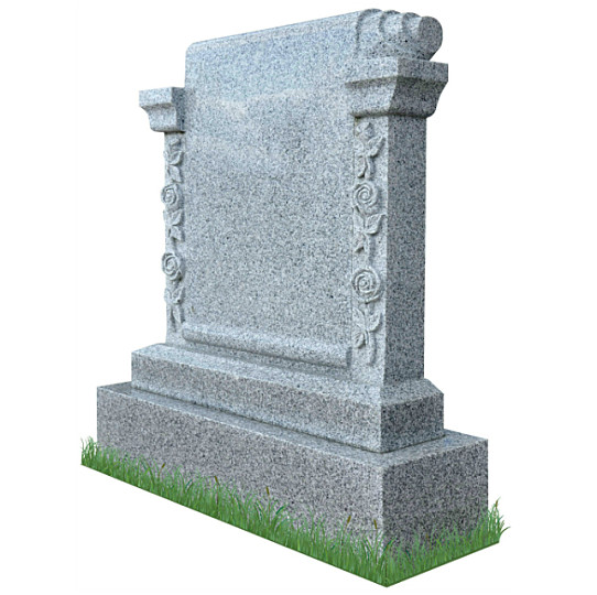 Carved Roses Scroll Monument (angle view) in Grey Granite. Headstone inscriptions engraved in matte black. Font: Gandalf Bold lettering.