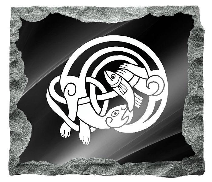Celtic Mythology Image etched on a black granite background
