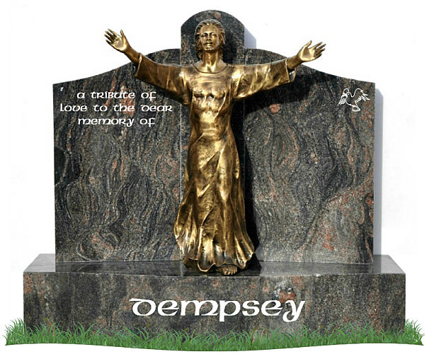 Single Base Gates of Heaven headstone in Himalaya Blue Granite. A bronze statue of Our Lord Jesus Christ is positioned in the center of the gates with inscriptions to be engraved on each side.