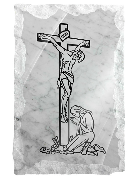 Image of Our Lady praying at the feet of Jesus etched on a white marble background