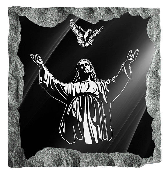 Memorial image of Jesus and the Holy Spirit etched on black granite.