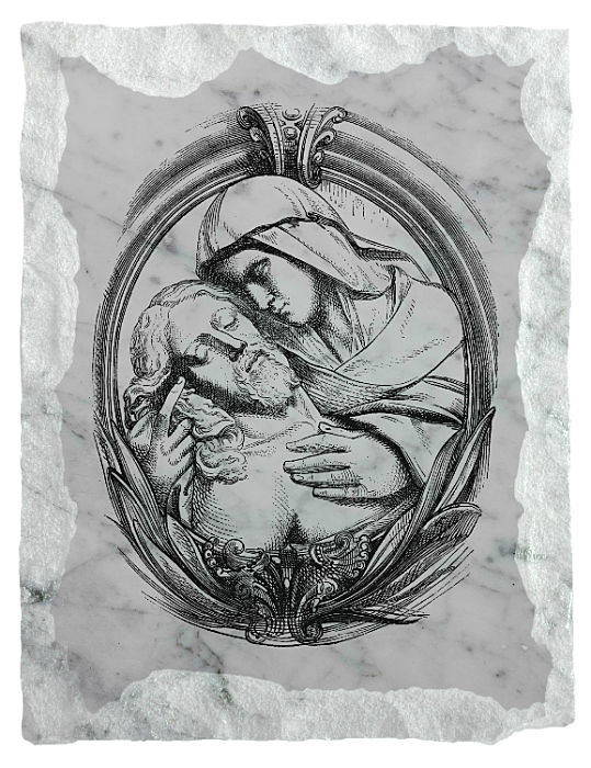 Image of Jesus and His Mother etched on a white marble background