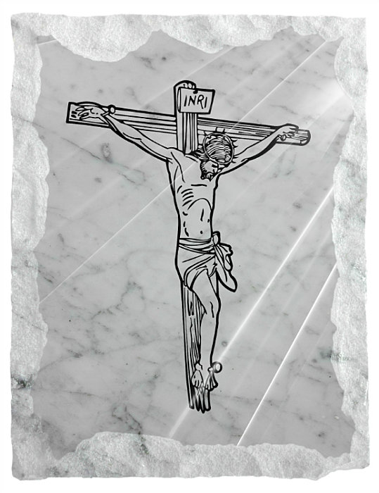 Image of Jesus on the cross etched on a white marble background