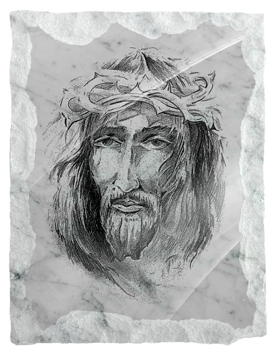 Image of Christ wearing a crown of thorns etched on a white marble background