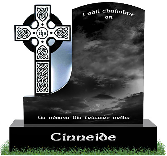 T.P. Celtic Cross Headstone in Black Granite. Celtic lacing engraved in Black Granite with a silver background. Inscriptions in silver. Font: Ennis Celtic lettering.
