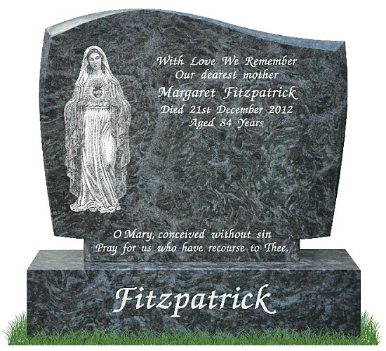 D30 Gravestone in Bahama Blue Granite. Full image of the Immaculate Heart of Mary is etched on the left with inscriptions on the right. Font: Lucida Calligraphy lettering.