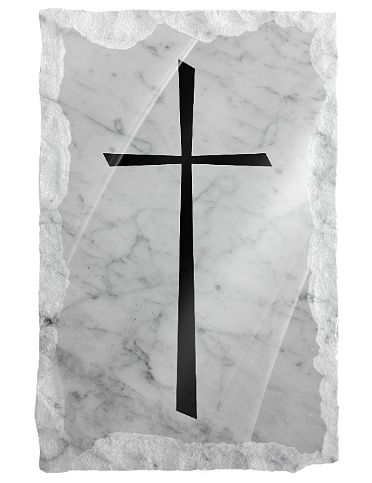 Image of a plain cross etched on a white marble background