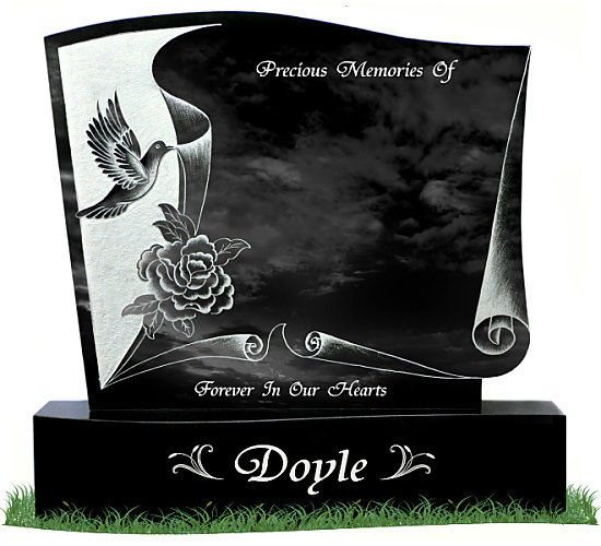Etched Dove Gravestone with curved base in Black Granite. Etched image showing a dove and a flower behind a page scroll with two decorative leaves on each side of the surname. Inscriptions engraved in silver. Font: Tiranti Solid Script lettering.