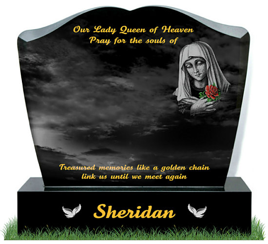Modern Heart Headstone in Black Granite. Etched image of Our Lady with Her hands on Her Heart holding a colored red rose. Doves etched in silver either side of surname on base. Inscriptions engraved in gold leaf. Font: Tartine Script lettering.