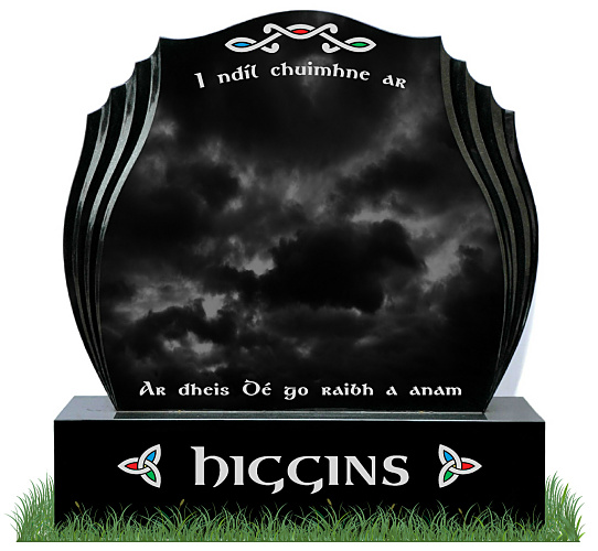 Double Tulip Headstone in Black Granite. Celtic Designs on Headstone and base in green, blue and red with a silver trim. Inscriptions in silver. Font: Gandalf Bold lettering.