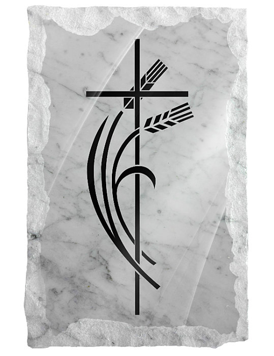 Image of contemporary cross and wheat etched on a white marble background