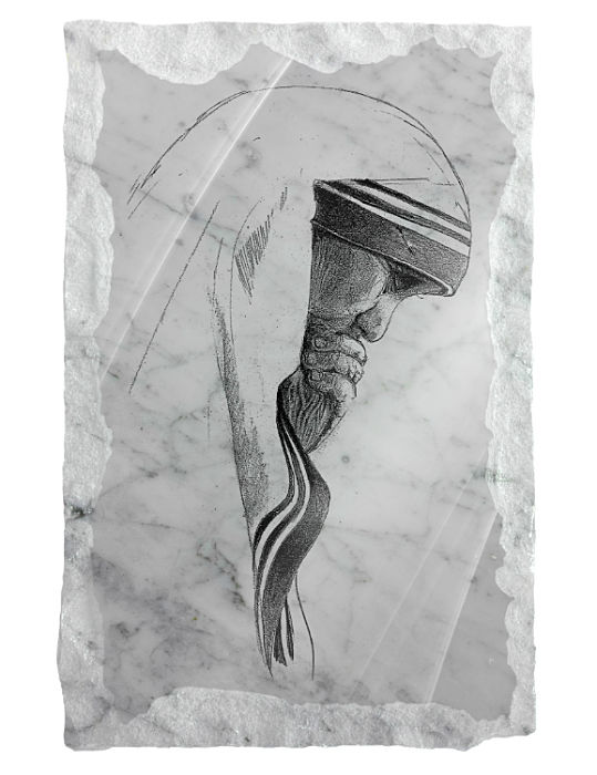 Image of Blessed Mother Theresa etched on a white marble background