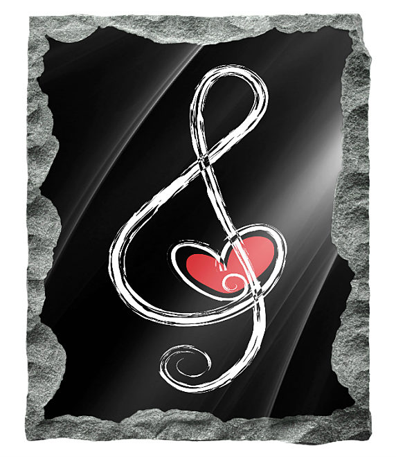 Contemporary Music Note with Heart etched in silver and red on a black granite background