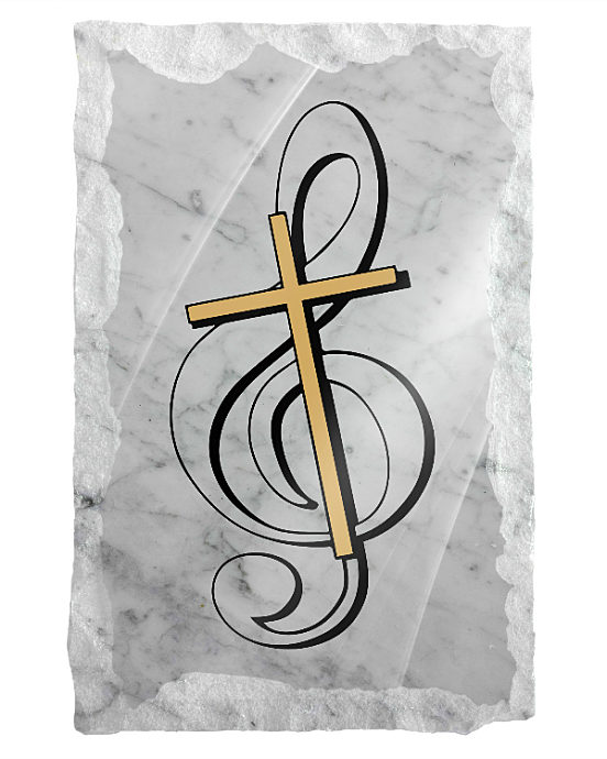 Music Note with Cross etched on a white marble background