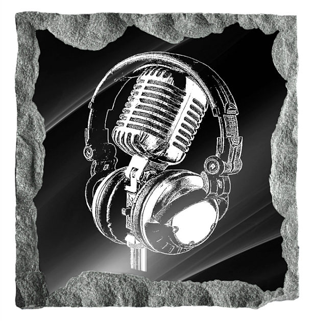 Image of a Microphone and Headphones etched on a black granite backgrund