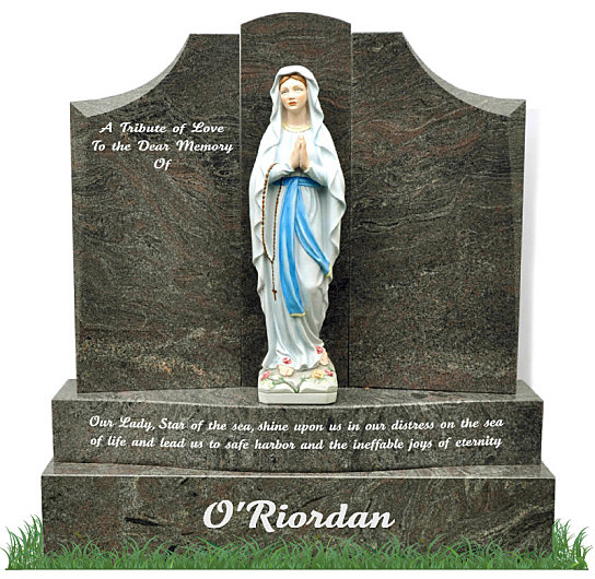 Double Base Gates of Heaven headstone in Paradiso Granite. A colored and polished porcelain statue of Our Lady of Lourdes is positioned in the center of the gates with inscriptions to be engraved on each side.