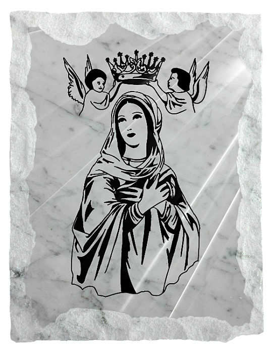Image of Our Lady Queen of Heaven etched on a white marble background