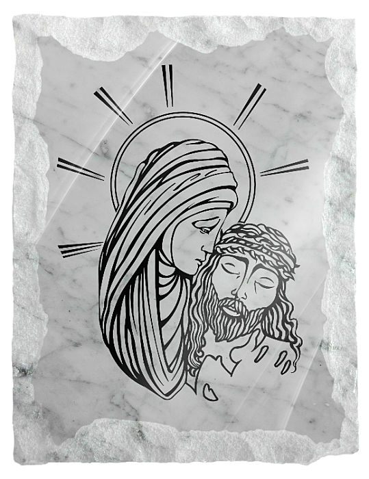 Image of Our Lady with Jesus etched on a white marble background