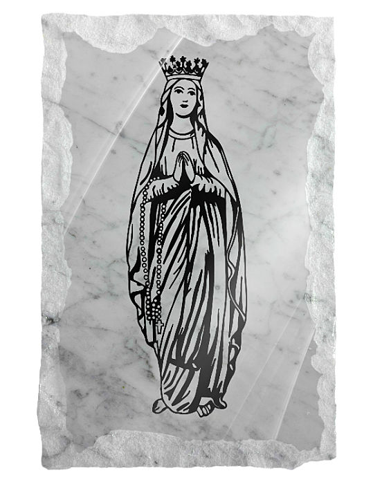 Image of Our Lady of Fatima etched on a white marble background