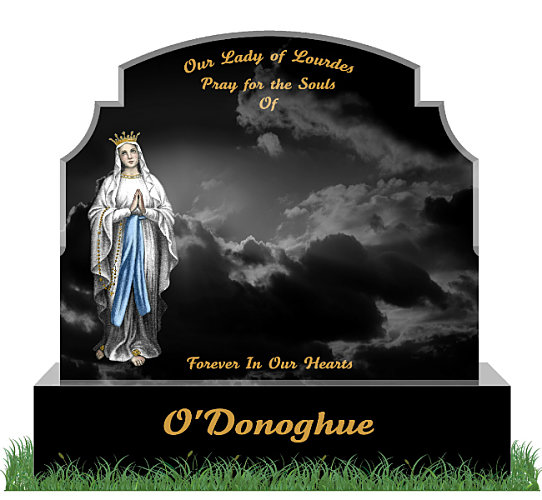 Traditional Top9 Headstone in Black Granite. An image of Our Lady of Lourdes is etched and hand painted in color on the left. All inscriptions engraved in gold leaf. Font: Tartine Script lettering.