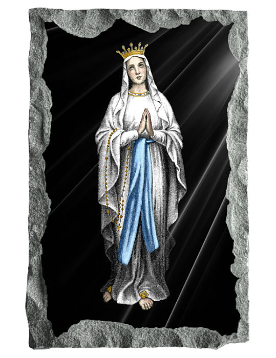 Image of Our Lady of Lourdes etched and hand painted in color on black granite.