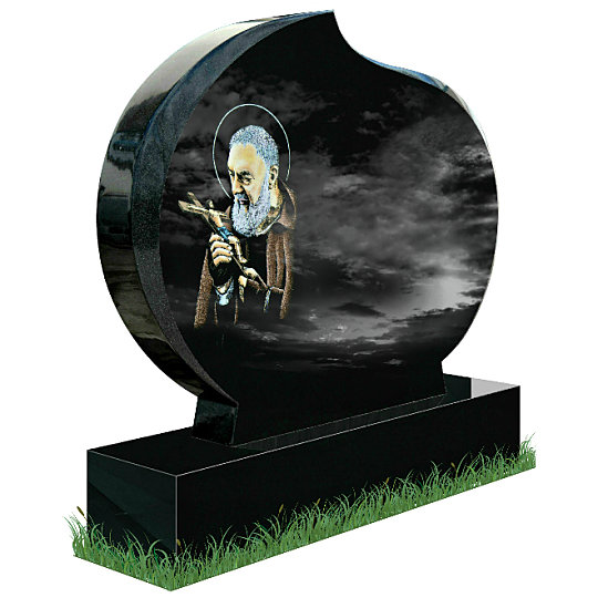 Modern Oval Memorial in Black Granite (angle view). Saint Padre Pio holding a crucifix Is etched in color on the left with a short prayer to the famous saint below. Inscriptions engraved in silver. Fonts: Lucida Calligraphy and Times Roman 93 lettering.