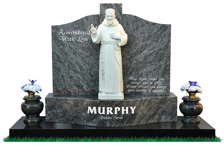 Double Base Gates of Heaven in Bahama Blue Granite with polished white porcelain statue of Padre Pio. Two matching round granite flower vases rest either side of the base.
