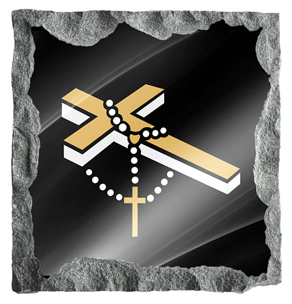 Image of small cross and rosary beads etched in silver and gold on a black granite background