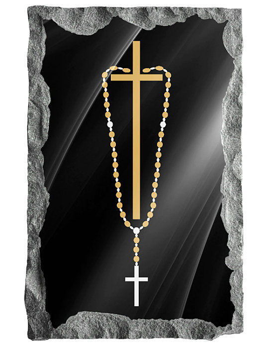 Image of cross and rosary beads etched in silver and gold on a black granite background