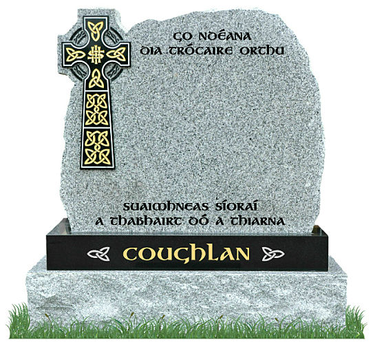 Rustic Celtic Cross Gravestone in Grey Granite with Black Granite Celtic Cross and matching Black Granite sub-base. Main inscriptions in matte black and surname in gold leaf with silver Celtic knots on each side. Font: Gandalf Bold