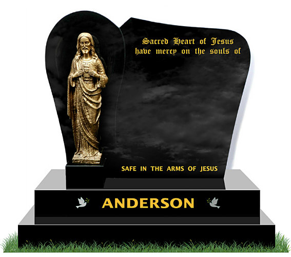 Small Grotto Gravestone in Black Granite. Bronze Statue of the Sacred Heart of Jesus is positioned in front of a recessed grotto. Images of doves etched in silver each side of the surname. Inscriptions engraved in gold leaf. Font: Mason Block 73 lettering.