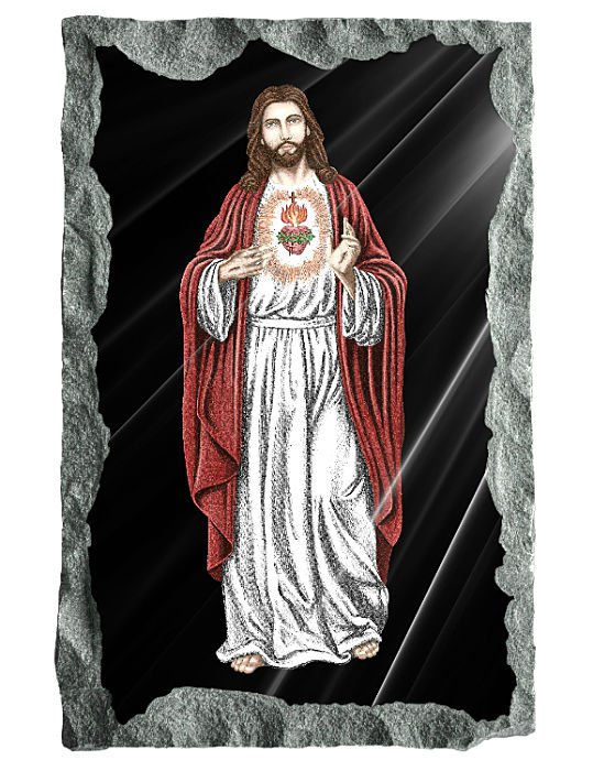Full image of Sacred Heart of Jesus etched and hand painted in color on black granite.