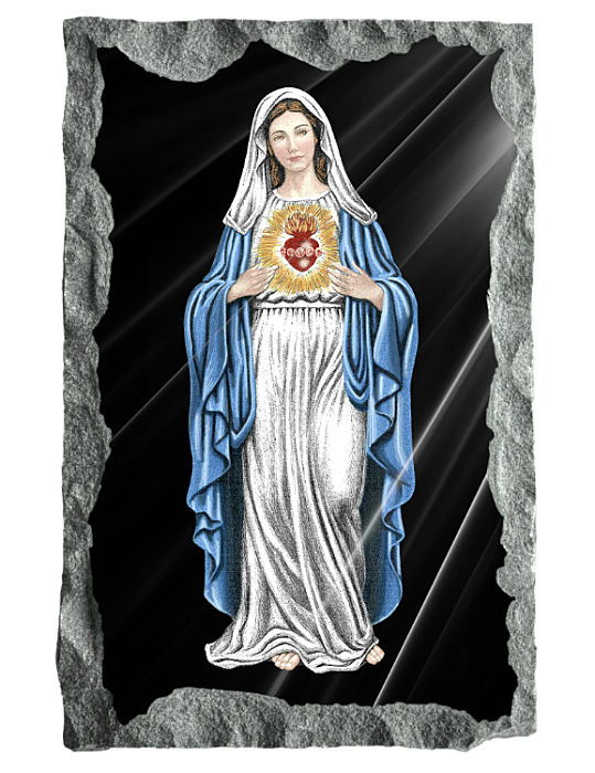 Full Image of the Immaculate heart of Mary etched and hand painted in color on black granite.