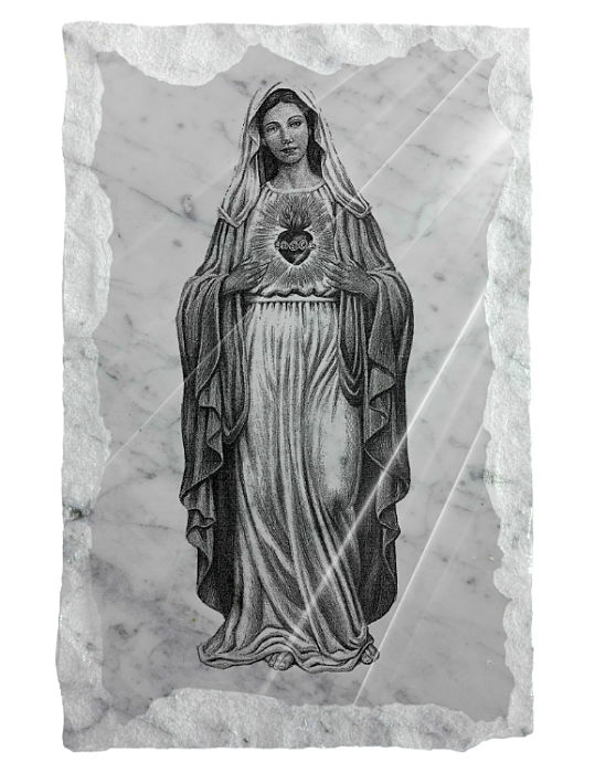 Full image of the Immaculate Heart of Mary etched on a white marble backgraound