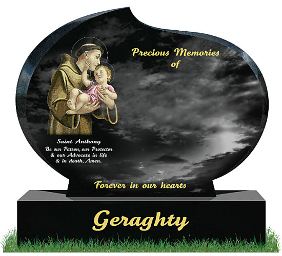 Modern Oval Memorial in Black Granite. Saint Anthony holding the Child Jesus Is etched in color on the left with a short prayer to the famous saint below. Inscriptions engraved in Gold and Silver. Font: Tartine Script lettering.