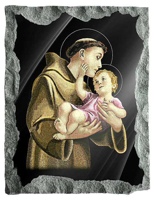 Saint Anthony of Padua etched and hand painted in color on black granite.