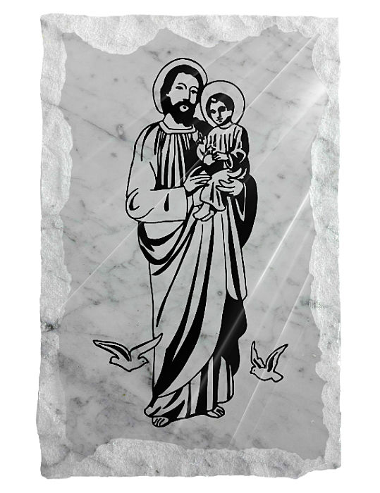 Image of Saint Joseph with Jesus etched on a white marble background