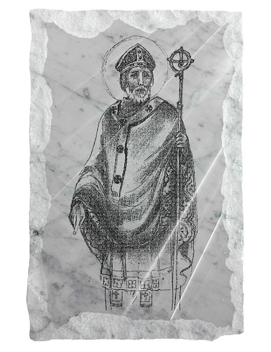 Image of Saint Patrick etched on a white marble background