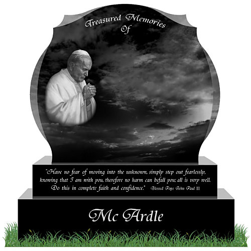 D34 Headstone in Black Granite. Saint Pope John Paul II is etched on the left of the memorial. A memorial verse from the former pope is engraved on the sub-base. All inscriptions engraved in silver. Font: Tiranti Solid lettering.