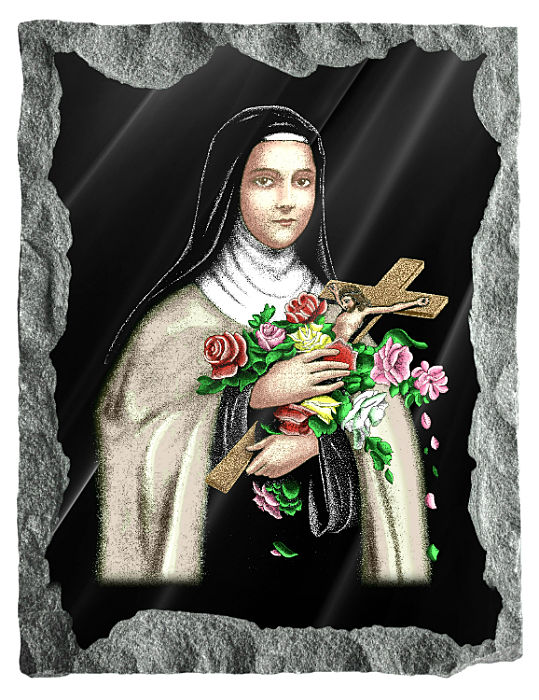 Image of Saint Therese etched and hand painted in color on black granite.