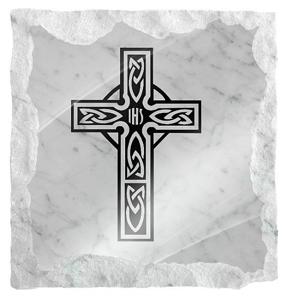 Image of small Celtic cross etched on a white marble background
