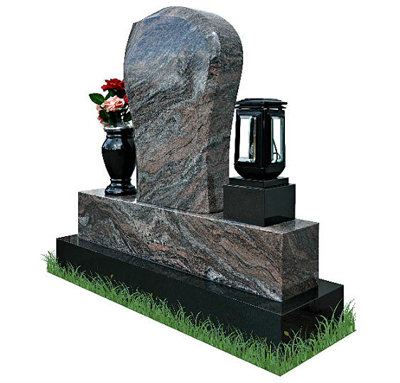 Small Children's Gravestone in Paradiso Granite (angle view). Black granite flower vase and solar light rest each side of the headstone. Inscriptions and image of dove are engraved in silver. Font: Tartine Script lettering.