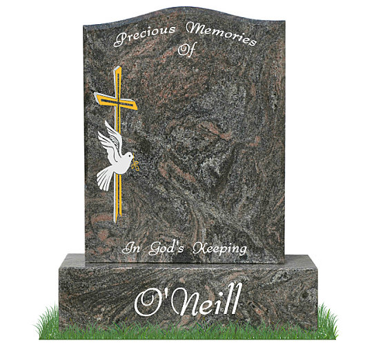 3 Inch Ogee Headstone in Paradiso Granite. Image of cross and dove etched in silver and gold leaf. Inscriptions in silver. Bernhard  Modern BT with Swash lettering.
