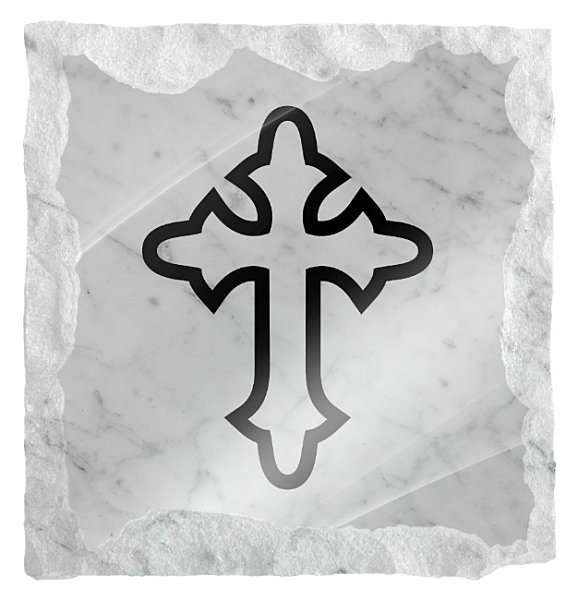 Image of gothic style cross etched on a white marble background